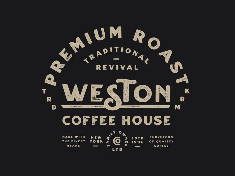 Weston Coffee House logo lettering wordmark badge coffee label label vintage logo retro typeface coffee logo type branding font typography vintage