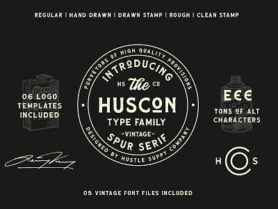HUSCON - A Vintage Spur Serif Typeface typeface font lettering logotype wordmark badge stamp distillery whiskey label brewery label design retro font