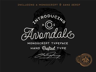 Avondale - A Monoline Font Duo typography retro monoline font typeface lettering monoline script line badge line art logo monoline logo vintage