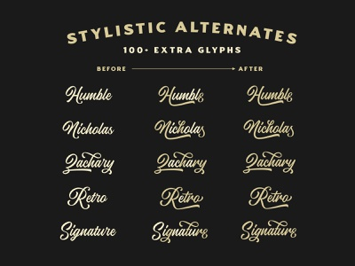 Artisans Moniker   Stylistic Alternates signature calligraphy hand lettering cursive script baseball retro script swashes ligature font lettering ligature