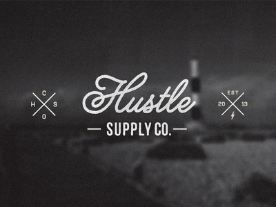 Hustle Supply Co. logo script vintage mark wordmark lettering yellow design studio melanie lane typography photo blurred blurred background t shirt design hustle