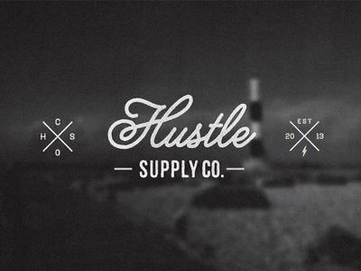 Hustle Supply Co. logo script vintage mark wordmark lettering yellow design studio melanie lane typography photo blurred blurred background t shirt design hustle