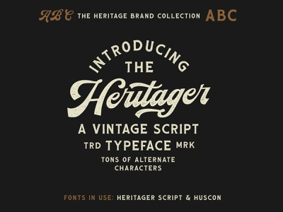 Heritager Script - Included in The Heritage Brand Collection baseball heritage vintage branding hand lettering lettering thick script retro script font vintage script font cursive baseball script