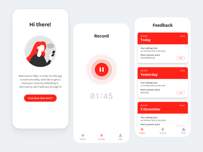 Talky, recording app concept iphone mobile apple ui design card dribbble app design minimal illustraion record voice ui app