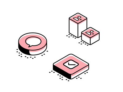 Animated Isometric illustration for an app pink checkmark contacts minimalistic minimal pastel message icon isometric animation loop animation gif vector branding design illustration