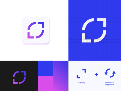 Cropping app logo branding gradient arrow responsive dynamic blue pink apple appicon icon colors colours logo design videogame cropping crop logo app