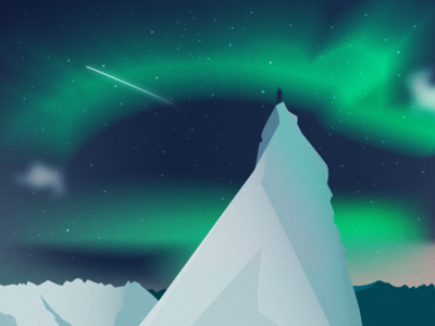 Northern lights experiment colors stars sky landscape light illustration ice gradient