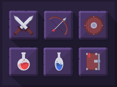 RPG icons  flat sword game weapon icon rpg