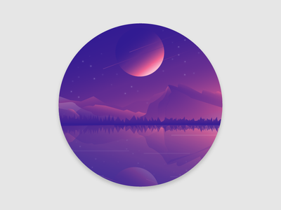 Another world landscape mountains colors gradient space planet
