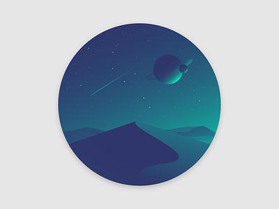 Deserted Planet stars sky landscape gradient desert color space planet