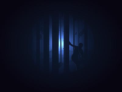 Illustration for an album cover music gradient dark wood illustration cover album