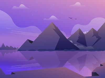 Mountain Landscape Wallapaper wallpaper gradient sky nature dribbble illustration lake mountain landscape
