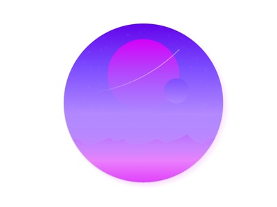 The Journey dribbble illustration gradient space planet landscape minmal