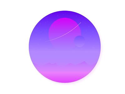 The Journey dribbble illustration gradient space planet landscape minmal