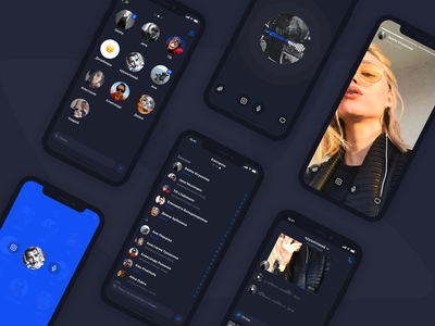 Vk Messenger App Concept dark ios chat video audio friends messenger vk blue app