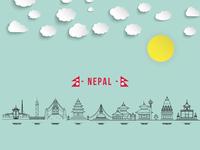 Nepal Kathmandu City - Vector Art