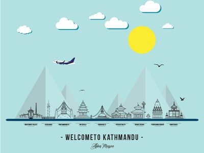 Kathmandu City - Nepal Vector Art nepal kathmandu temple county tourism travel illustrator designs graphics beauty art