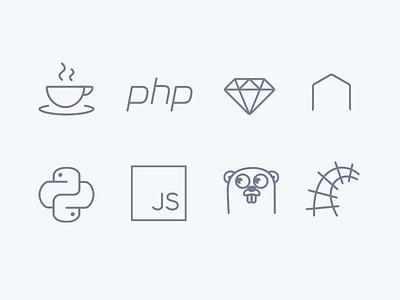 Platform icon set rails go js python node ruby php java icon set icons