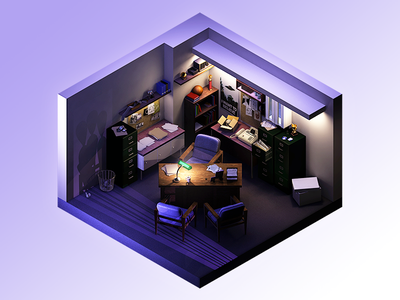 I WANT TO BELIEVE x-files maya 3d office room isometric