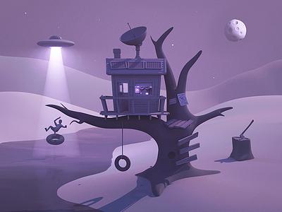 Remote Treehouse ufo maya 3d