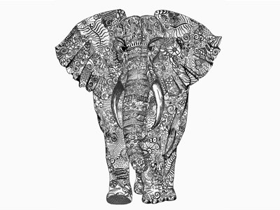 Walking with elephants hand-drawn pen and paper design pattern sketch line drawing elephant