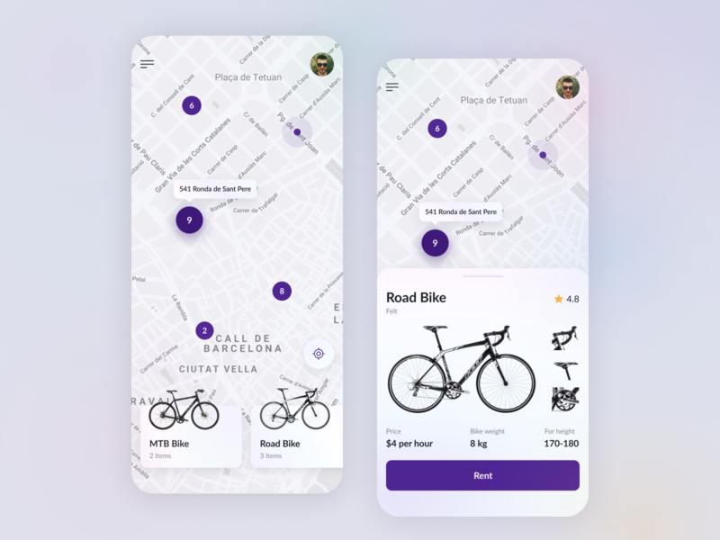 Bike Rent uidesign marketing rent bike rent designer pin cycling bike maps map location apple ios mobile app design ukraine ux ui lviv