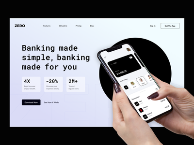 Mobile Banking Web Design 2021 trend landing page webdesign web design landingpage landing website mobile ui zero bank banking website banking mobile black web design ukraine ux ui lviv