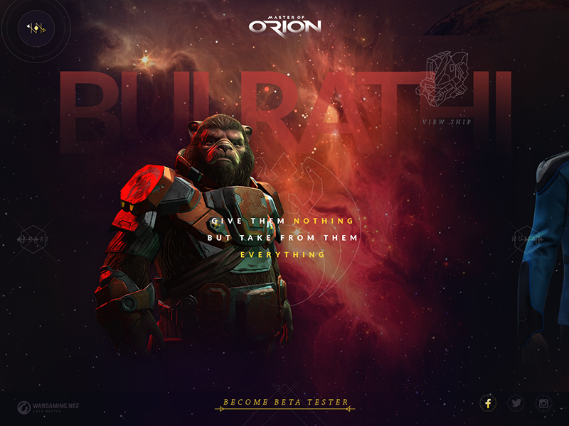Master of Orion: Races overview wargaming website game typography sci-fi space master of orion layout site ui ux moo