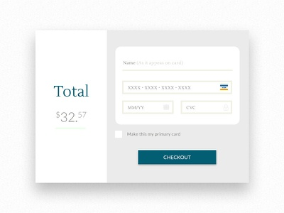 Credit Card Checkout elegant clean simple checkout credit card