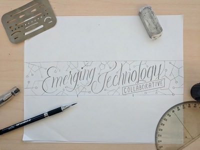 Emerging Tech graphite drawing wall art hamrick calligraphy hand lettering
