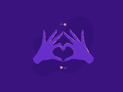LOVE dribbbleweeklywarmup celebratelove weeklywarmup illustration art hands hand valentine day valentine purple drawing draw heart love