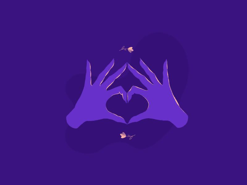 LOVE dribbbleweeklywarmup celebratelove weeklywarmup illustration art hands hand valentine day valentine purple drawing draw heart love