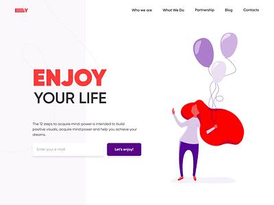 Enjoy   web page page motion minimal illustraion landing ux colors clean desktop design website web video animation ui