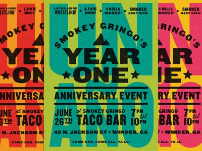 Smokey Gringo One Year Anniversary Poster hierarchy layout design restaurant food knockout letterpress poster branding texture vector typography