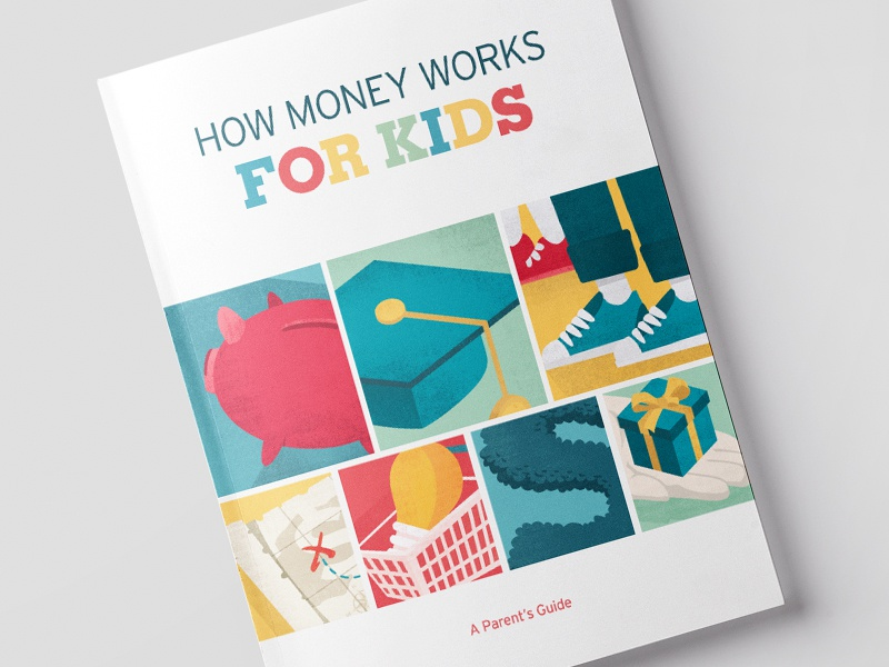 How Money Works For Kids finance typography kids texture vector illustration book cover cover book