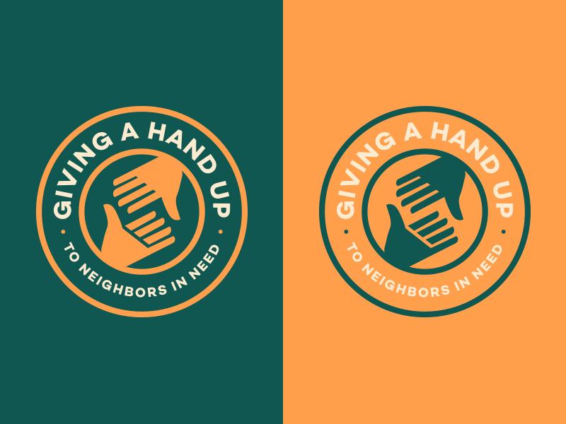 Give a Hand Up crest hands vector emblem logo