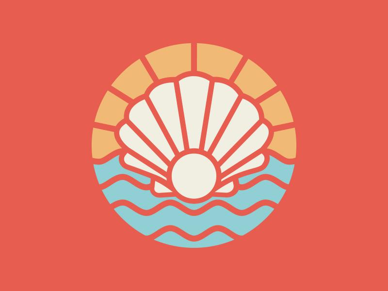 Seashell Things tropical beach sea coastal badge crest emblem illustration vector texture identity logo