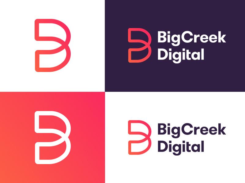 Big Creek Digital Final web marketing mark icon design branding emblem type illustration vector identity typography logo