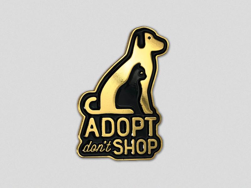 Adopt Don't Shop embossed gold pin enamel cat dog adoption pet adoption animals pet emblem type illustration vector typography