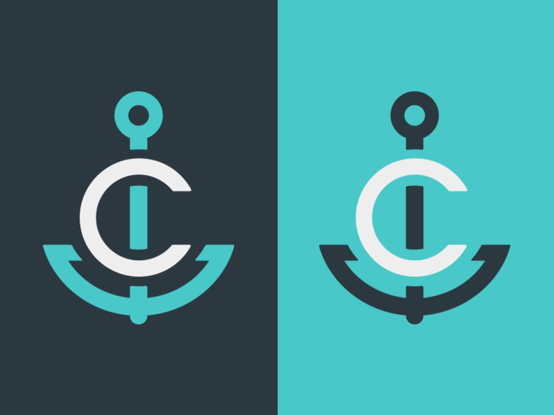 Coronado Anchor logomark letter anchor nautical design mark branding illustration vector identity typography logo