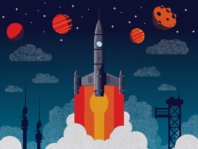 Rocket Blast space wip vector graphic design illustration