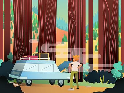Auto Trouble bayarea redwoods vector art vector illustration wilderness forest illustrator illustration breakdown trees person car