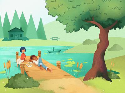 Summer Days nap summer days people dock forest tree summer pond illustration photoshop childrens book illustration kid lit art