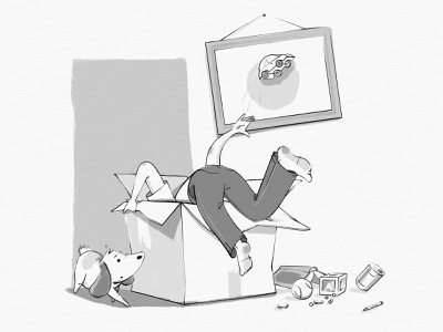 The Joys of Moving boxes people dog black and white childrens book illustration kid lit art spot illustration illustration moving