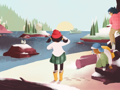 When The Ship Comes In winter scene snow illustration adobephotoshop kidlitart ship digital painting