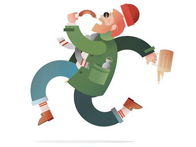 The Sausage Sprint beer vector art adobeillustator illustration figure run sausage person