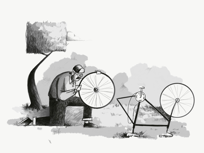Pasadena Style trees person fixing a flat bike illustration