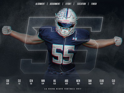 La Cueva Bears | Defensive Poster 2017 print digital social schedule defense pro high school athletics sports design football