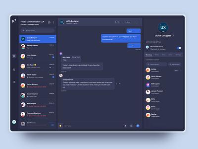 Web Business Chat visualization profile page vector illustration dark ui branding communications ui  ux design visual design dribbble visual design