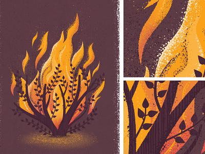 Burning Bush true grit tree branch flames leaves bush illustration texture fire